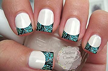 Amazon 20 Nail Art Decals French Tip Camo Teal Black Beauty