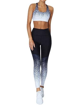 e222b14f50511 Amazon.com: ZJP Women Crop Top High Waist Leggings Gradient Print Yoga Set  Fitness Tracksuit: Clothing