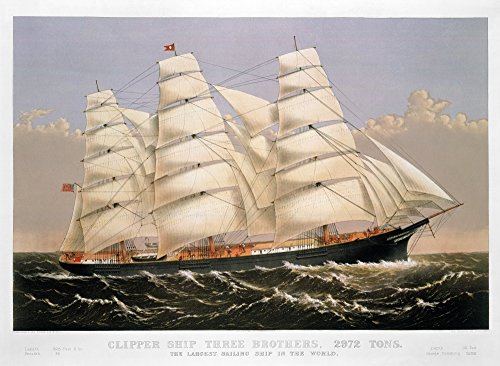 Posterazzi GLP469052LARGE Poster Print Collection Clipper Ship 1875./N