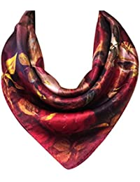 Charmeuse Silk Neckerchief Square Scarves, Rose Garden
