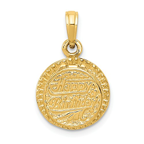 Birthday Cake 14k Gold Charm - 14k Yellow Gold with Enamel Birthday Cake with Candle Inside Pendant (13 x 20 mm)