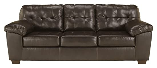 Signature Design by Ashley – Alliston Contemporary Faux Leather Sleep Sofa – Queen Size, Chocolate