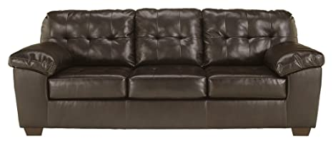 Awe Inspiring Signature Design By Ashley Alliston Contemporary Faux Leather Sleep Sofa Queen Size Chocolate Gmtry Best Dining Table And Chair Ideas Images Gmtryco