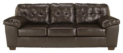 Cool Signature Design By Ashley Alliston Contemporary Faux Leather Sleep Sofa Queen Size Chocolate Creativecarmelina Interior Chair Design Creativecarmelinacom
