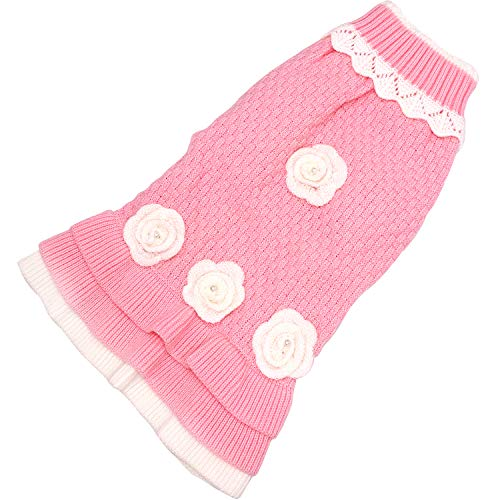Joytale Turtleneck Flower Studded Pet Dog Sweater Apparel, Pink Female Girl Dog Winter Clothes, Fits Small Puppy Breeds; Back Length 9.5″