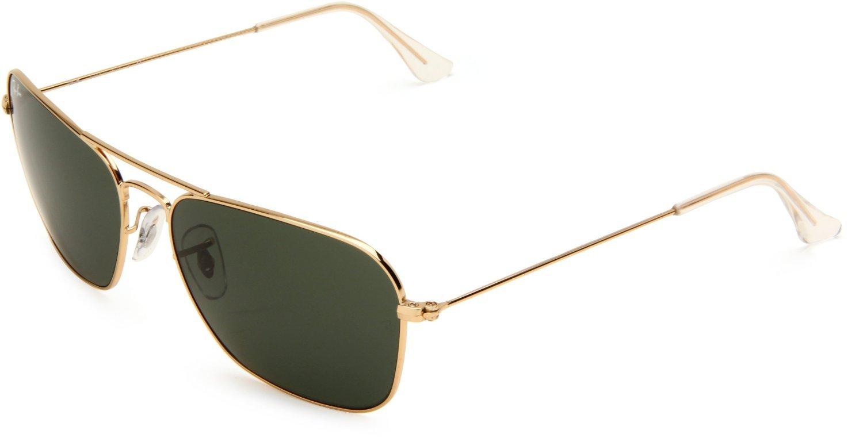 1cef87a6167 Amazon.com  New Ray Ban Caravan RB3136 001 55mm Gold Crystal Green  Sunglasses  Sports   Outdoors