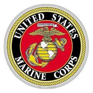 """USMC Logo Aluminum Sign Round 12"""" 108"""