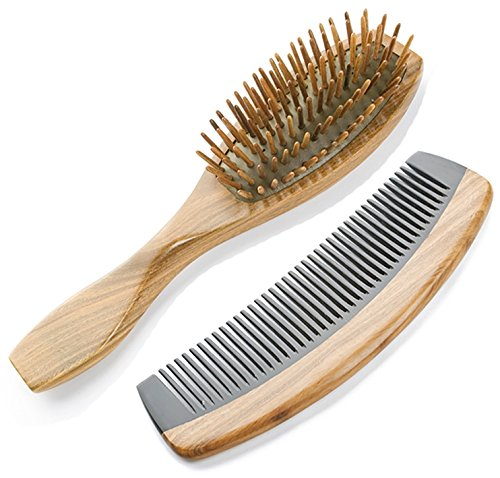 2 Count Wooden Hair Brush Comb product image