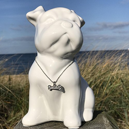 Whole House Worlds The Bling Baby Puppy Bank, Chic Pug Dog Statue, Glittery Faux Diamond Bone Charm Necklace, White Ceramic, Money Slot, Removable Bottom Plug, 7 1/2 Inches Tall, By