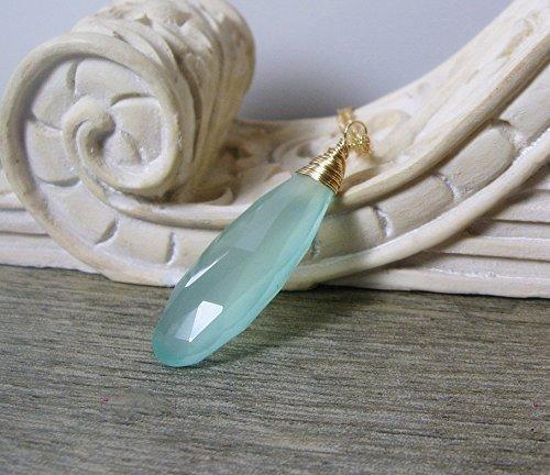 Aqua Chalcedony Gemstone Long Pendant Necklace in Gold,