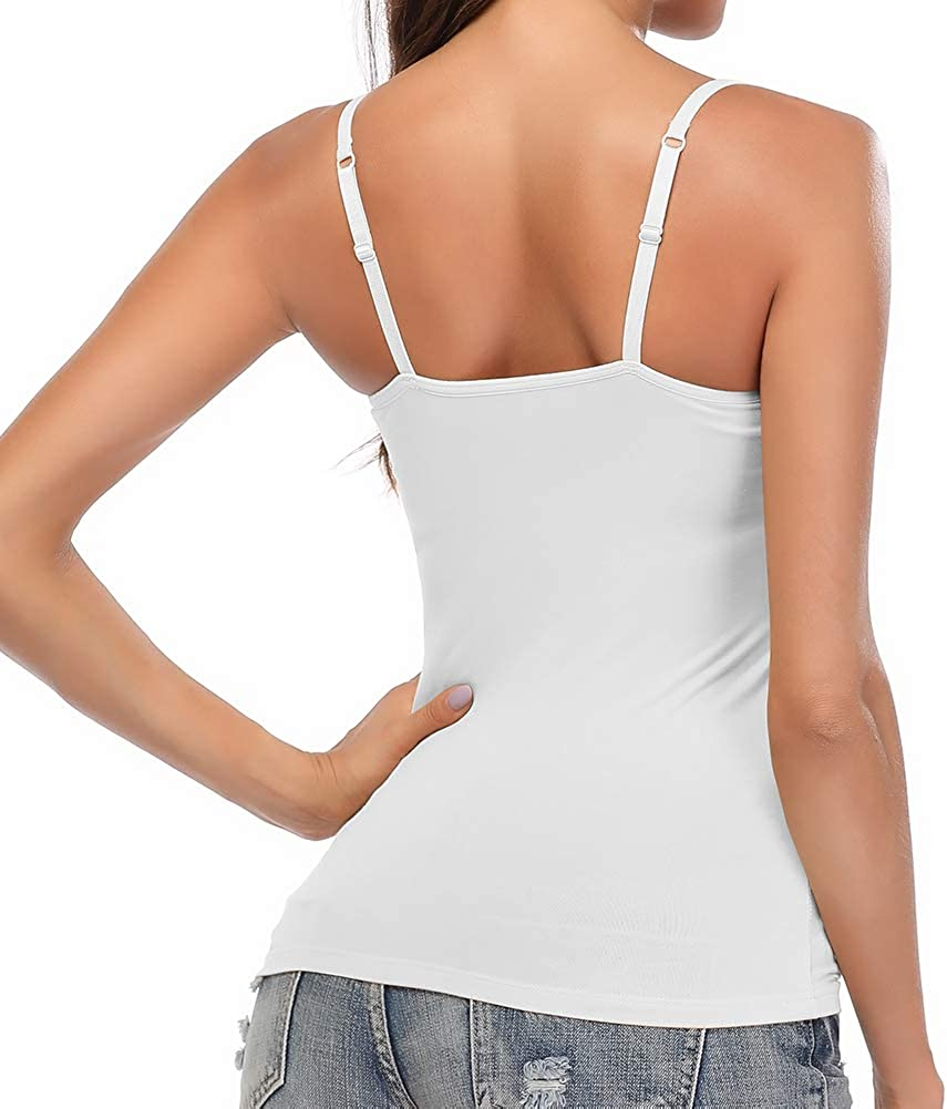 Womens Camisole Tank Tops with Built-in Bra Basic Solid Vest Adjustable Spaghetti Strap Padded Cami Top