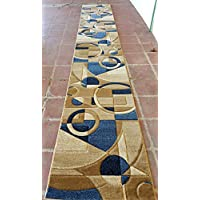 Modern Long Contemporary Area Rug Geometric Runner Design 322 Blue (32 Inch X 15 Feet 10 Inch)