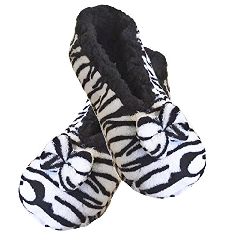 Damen-Frauen Tootsies Plush Animal Print Hausschuhe One Size, um 37-41 passen Zebra