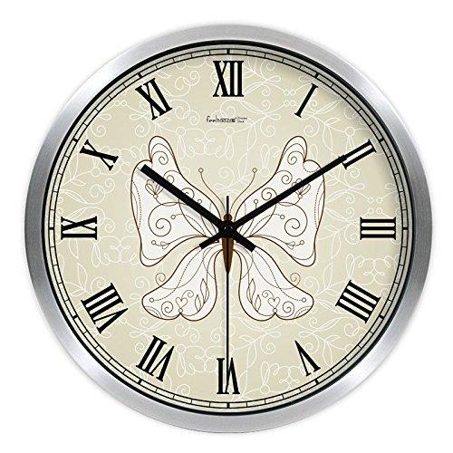 Wall Clock WERLM Kunst Uhr Metal Box Mute Wanduhr Retro Quarzuhr Wohnzimmer Schlafzimmer kreative Schautafel φ, 12 Zoll (30,5 cm), B Metallic Silber Frame