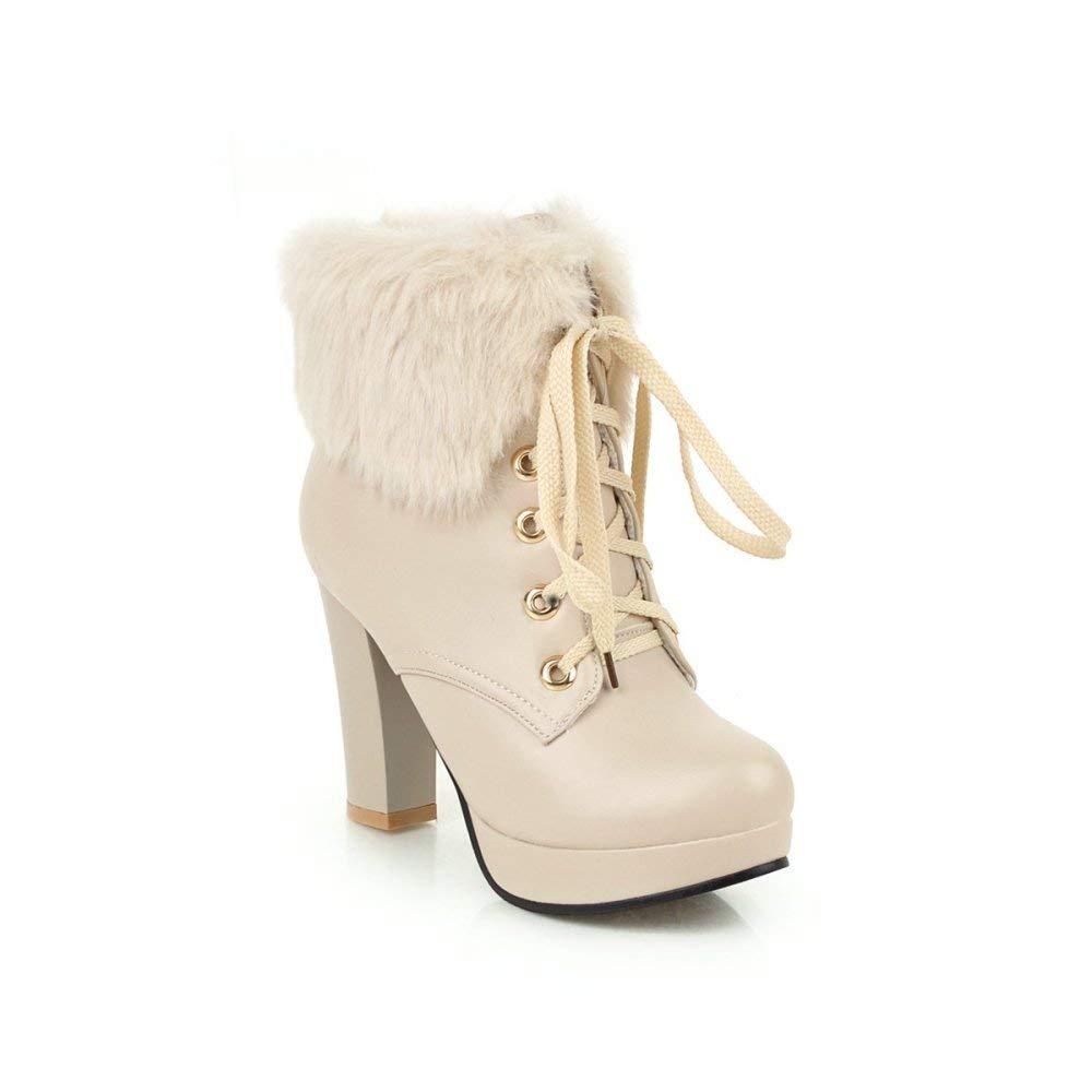 QINGMM Frauen Spitzen Stiefeletten Mode Plattform 2018 Herbst Winter Plattform Mode Hochhackige Martin Stiefel Größe 40-43 17a47c