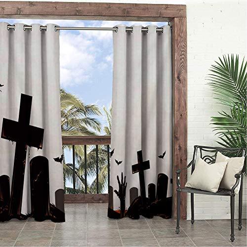 Linhomedecor Balcony Waterproof Curtains White Halloween Cemetery doorways