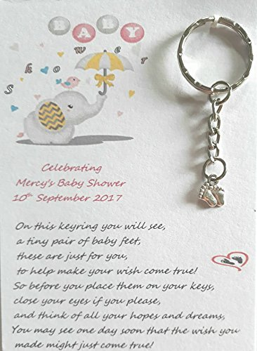 Desertcart leia maries celebration gifts buy leia maries pink blue or yellow 5 x personalised baby shower keyrings with a special wish poem and a baby feet tibetan silver charm these are a lovely fun negle Gallery