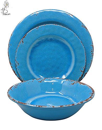 12 Piece Rustic Farmhouse Melamine Dinnerware Set, Service f