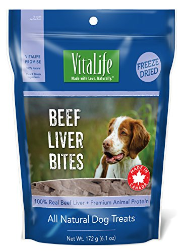 VitaLife Freeze Dried Dog Treats - All Natural, Beef Liver Bites, 6.1 oz