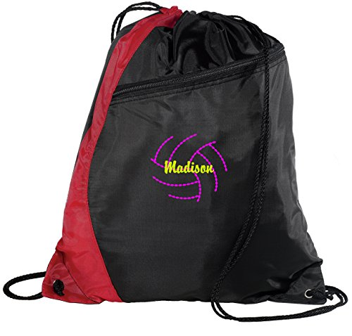 Personalized Volleyball 2 Drawstring Colorblock Cinch Pack Backpack (Red/Black)
