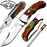 """Cheap Best.Buy.Damascus1 Multi Wood 6.5"""" Sliver Bloster Handmade Stainless Steel Folding Pocket Knife with Sharpening Rod & with Back Lock 100% Prime Quality"""