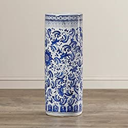 Vintage Indoor Umbrella Stand with Blue Floral Pattern Free Standing Office Entrance Umbrella Holder Racks Home Luxury Furniture Decor