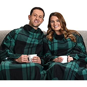 The Original Snuggie - Super Soft Fleece Blanket With Sleeves And Pockets - Green Plaid
