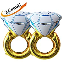 "Set of 2 Giant 45"" Diamond Engagement Ring Mylar Balloons for Proposal Vow Renewal Valentine's Day Bridal Shower Wedding Bachelorette Parties Decoration. Huge Bling Favor. Extra Large Party Statement."