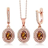3.73 Ct Orange Madeira Citrine 925 Rose Gold Plated Silver Pendant Earrings Set