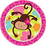 Amscan Sweet Monkey Love Round Birthday Party Lunch Paper Plates Disposable Tableware (8 Pack), 9