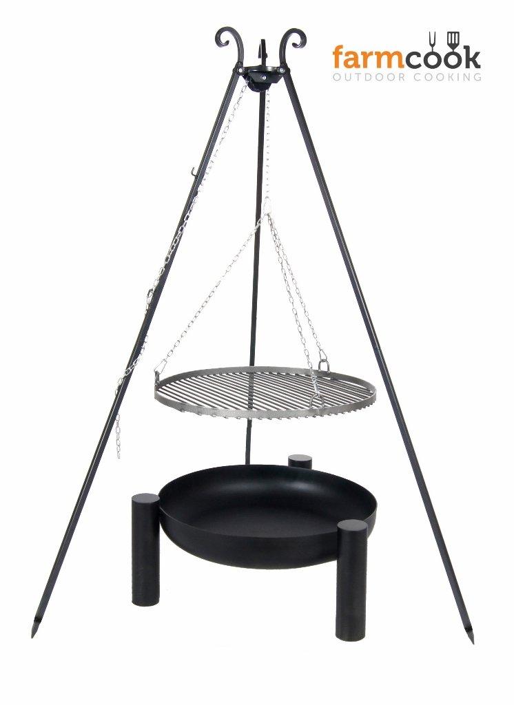Dreibein Grill VIKING Höhe 180cm + Grillrost aus Rohstahl Durchmesser 60cm + Feuerschale Pan38 Durchmesser 70cm