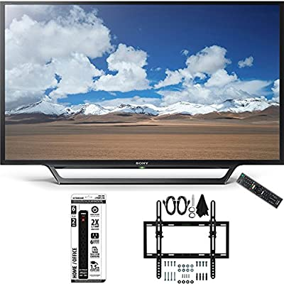 Sony KDL-32W600D 32-Inch Class HD TV w/ Built-in Wi-Fi Flat + Tilt Wall Mount Bundle includes Television, Flat & Tilt Wall Mount Ultimate Kit and Power Strip with Dual USB Ports
