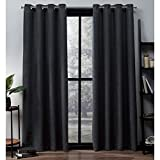 Exclusive Home Oxford Textured Sateen Thermal Grommet Top Curtain Panel Pair, Charcoal, 52x63