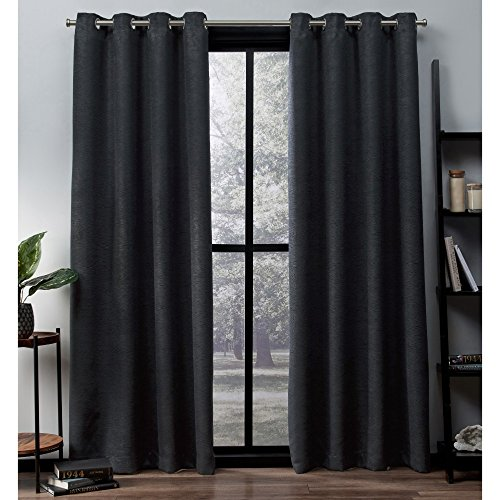 Exclusive Home Curtains Oxford Textured Sateen Thermal Window Curtain Panel Pair with Grommet Top, 52x96, Charcoal, 2 Piece - Pair Thermal Insulated Cotton Curtains