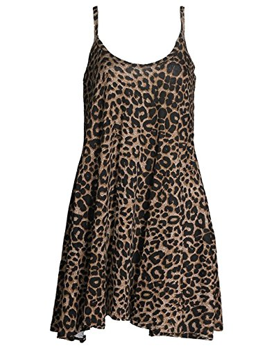 Soficy Women's Scoop-Neck Animal-Print Sleeveless Short Straight Dress, Leopard Print, X-Large (Dress Leopard Jersey Print)