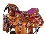 12 13 Pink Purple Star Tooled Leather Kids Pony Youth Child Western Saddle