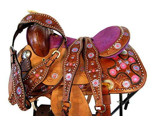 (Orlov Hill Leather Co Hand Tooled Cross Saddle Barrel Racing Child Kids Youth Pony Trail Youth 12 13 (13 Inch))