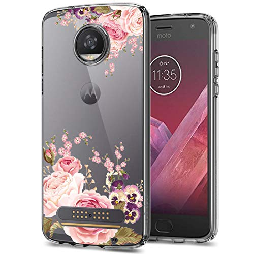 Moto Z2 Play Case, Moto Z2 Force Case, Ueokeird Clear Soft Flexible TPU Watercolor Flowers Floral Printed Back Cover for Moto Z2 Play / Z2 Force (Rose Flower) (Best Case For Moto Z2 Play)