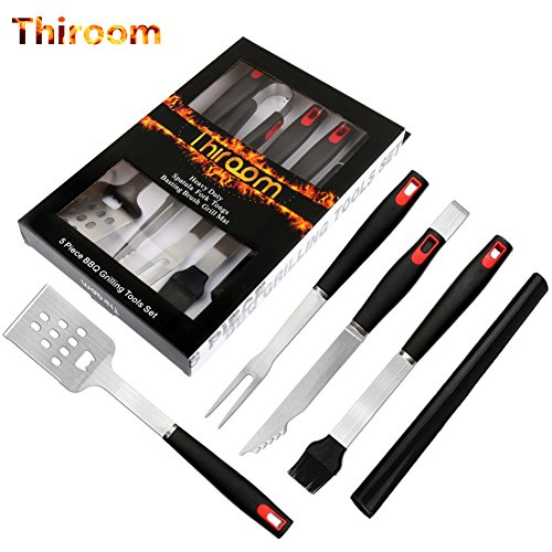 5-Piece BBQ Tools - Premium Stainless-Steel Barbecue Grilling Utensils - Tongs, Meat Fork, Basting Brush, Non-Stick BBQ Mat, and Spatula (Tongs Barbeque Tool)