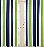 Navy Blue, Lime Green and White Window Treatment Panels for Stripe Collection - Set of 2
