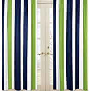 Sweet Jojo Designs 2-Piece Navy Blue, Lime Green and White Window Treatment Panels for Stripe Collection