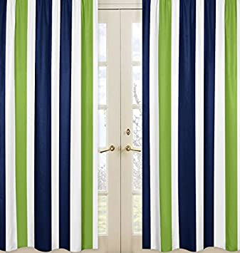 Sweet Jojo Designs 2 Piece Navy Blue Lime Green And White Window Treatment Panels