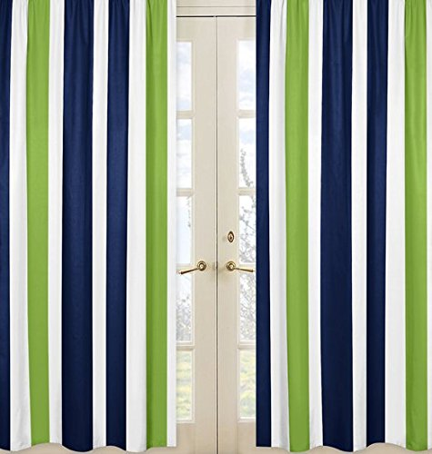 Sweet Jojo Designs 2-Piece Navy Blue, Lime Green and White Window Treatment Panels for Stripe Collection ()