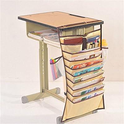 VIPASNAM-Multi-function Desk-Side 10Slot Oxford Fabric Adjustable Hanging Bag Book Pocket(color:khaki gb-CQ2132)