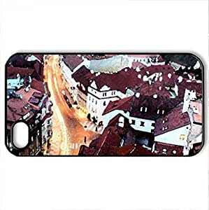 lit street in prague at dusk - Case Cover for iPhone 4 and 4s (Watercolor style, Black)