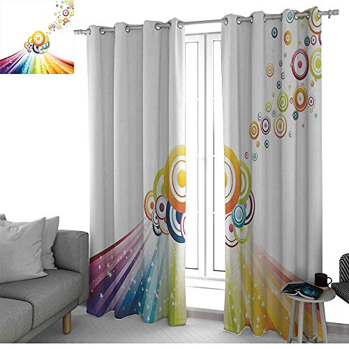 NUOMANAN Kitchen Curtains Vintage Rainbow,Colorful Stripes Wave and Bullseye Circles Pattern with Stars Illustration,Multicolor,Rod Pocket Drapes Thermal Insulated Panels Home décor 100