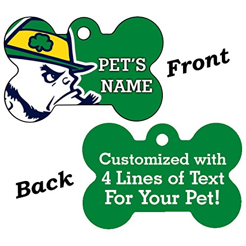 NCAA Double Sided Pet Id Dog Tag Personalized With 4 Lines of Text (Notre Dame) by uDesignUSA
