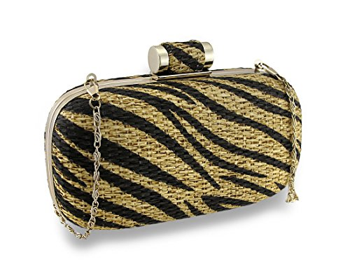 Clutch Tiger (Tiger Striped Basket Weave Evening Clutch w/Removable Chain Strap)