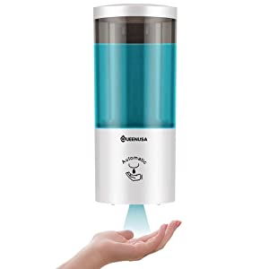 QUEEN USA Touchless Soap Dispenser Wall Mounted, Automatic Soap Dispenser with Infrared Motion Sensor, Hand-Free Soap Dispenser for Hospital , Offices, Schools, Kitchen, Bath - 500mL Capacity