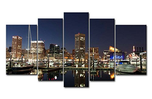 5 Piece Wall Art Painting Baltimore Harbor At Night Prints On Canvas The Picture City Pictures Oil For Home Modern Decoration Print Decor For Boys Bedroom by So Crazy Art
